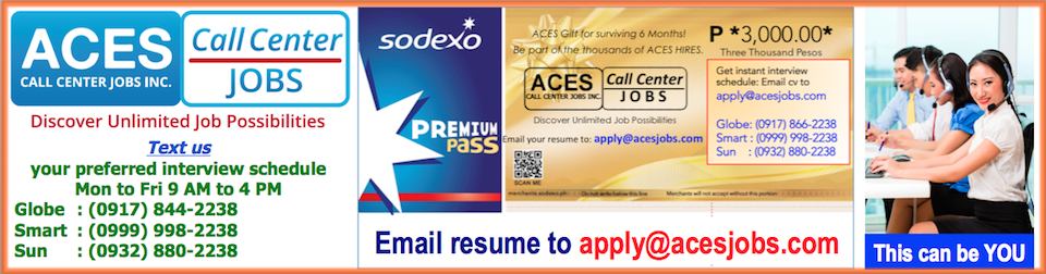 Customer Service Executives Night Shift upto 30k Salary Metro Manila from ACES Call Center Jobs Inc.